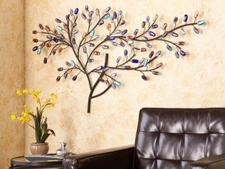 Southern Enterprises Brenchan Metal and Glass Tree Wall Sculpture
