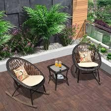 Ovios 3 Piece Patio Rocking Bistro Set Patio Outdoor Furniture  Porche Rocking Chairs Conversation Sets with Glass Coffee Table  Retail 281 49