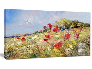 Designart  Painted Poppies on Summer Meadow  landscape Wall Art Print Canvas   Green