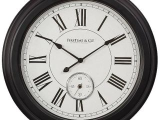 FirsTime   Co  Everett Wall Clock  American Crafted  Satin Black   White  Plastic  19 x 2 5 x 19 in   19 x 2 5 x 19 in