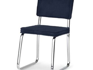 WYNDENHAll Barron Modern Dining Chair in Navy Blue Corduroy   16 9 w x 19 7 d x 31 1 h  Retail 113 31