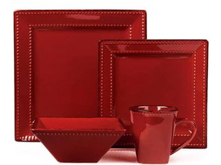 16 Piece Square Beaded Stoneware Dinnerware by lorren Home Trends  Red  Retail 88 99