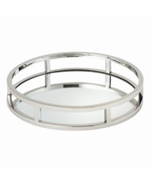 Elegance Beam Round Tray with Mirror 10 75  diameter