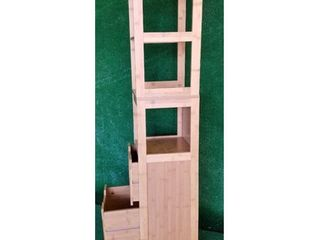 Evideco Bathroom Free Standing Cabinet linen Tower Mahe Oak  Retail 167 49