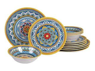 12pc Melamine Portofino Dinnerware Set   Certified International