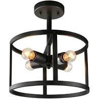 Modern Black 4 lights Flush Mount Ceilling lighting   D 11 75 x H 14  Retail 126 99