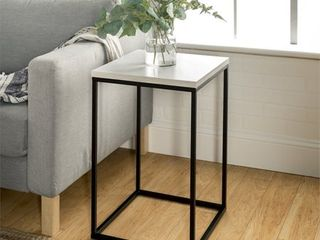 16 inch Open Box Side Table with White Faux Marble top and black metal base