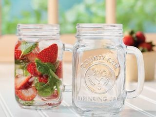 libbey County Fair Glass Drinking Jars  Set of 12