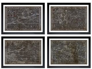Oliver Gal  Celestial Map XVI Century   4 Panels  Framed Art   Brown  Retail 416 49