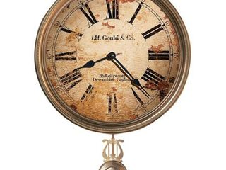 Howard Miller J  H  Gould   Co  III Antique  Vintage  Old World    Industrial Style Distressed Wall Clock with Pendulum  Retail 139 00
