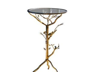 Abbyson Venetian Round Glass Tea Table Gold Glass Retail  87 49