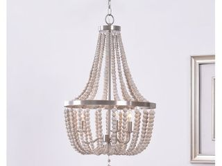 Zander Brushed Steel 3 light White Wood Bead Chandelier  Retail 195 99