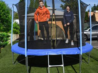 AlEKO Trampoline 10 feet With Safety Net and ladder Black and Blue  Retail 311 49