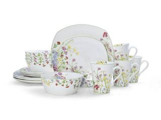 Mikasa Wildflower Garden Square Bone China 16 piece Dinner Set  Retail 146 99