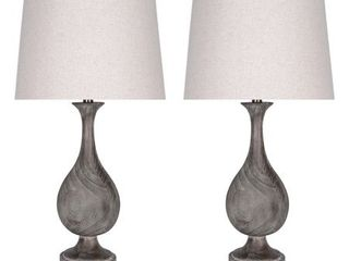 29  Dusty Wood Polyresin Table lamp W  Oatmeal linen Drum Shade  Retail 133 31
