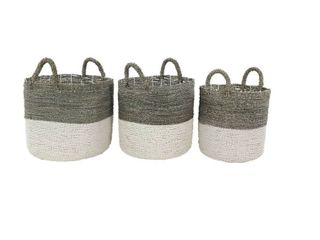 Studio 350 large Round Gray   White Color Blocked Seagrass Baskets   Retail 135 49