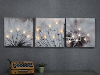 Set of 3 Dandelion Prints with lED lights   Grey