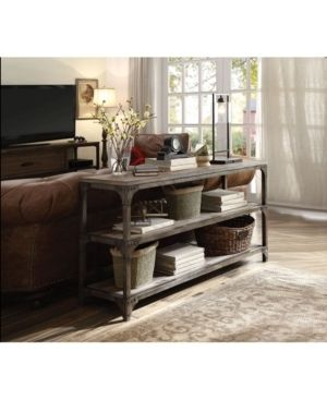 Acme Furniture Gorden Weathered Oak and Antique Silver Console Table  Retail 335 99