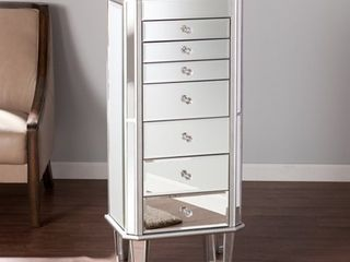 Millicent Silver Mirrored Jewelry Armoire  Retail 348 99