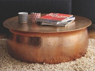 Hammered Rose Gold Finish Coffee Table  Retail 436 49