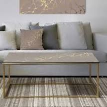 Designart  Golden Marble Design II  Glam Coffee Table  Retail 209 99
