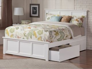 Madison Queen Platform Bed with Matching Foot Board with 2 Urban Bed Drawers in White  Retail 699 99