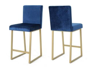 Toucanet Modern Velvet Barstools  Set of 2  by Christopher Knight Home  Retail 209 01