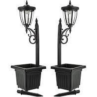 Sun Ray Kambria Multi Function Solar lamp Post and Planter  Set of 2  Retail 119 99