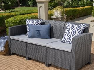 St  Paul Outdoor 3 Seater Faux Wicker Rattan Style Sofa with Water Resistant Cushions by Christopher Knight Home  Retail 296 49