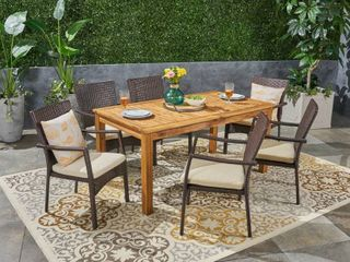 Table only Davenport Outdoor Wood and Expandable Dining table by Christopher Knight Home  Retail 1096 99