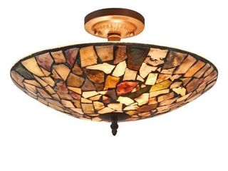 2 light Dark Bronze Stained Glass Semi Flush Mount  Retail 117 99