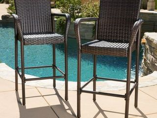 Christopher Knight Home Delfina Outdoor Wicker Barstool  Set of 2  Retail 216 49