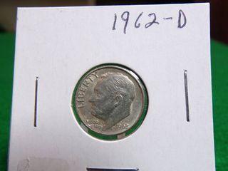1962-D ROOSEVELT DIME MS62