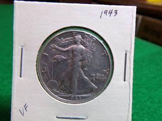 1943 WALKING LIBERTY HALF DOLLAR - VF