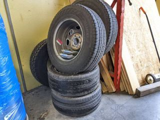 lot Of Tires  Some With Wheels