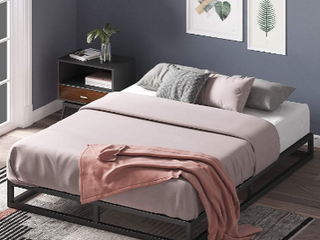 Zinus Joseph 6 Inch Metal Platforma Bed Frame   Mattress Foundation   Wood Sl