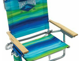 Tommy Bahama 5 position Classic lay Flat Folding Backpack Beach Chair   Blue And
