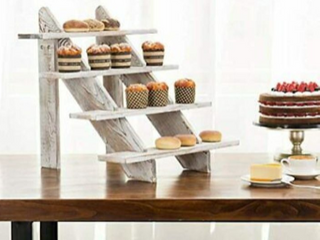 MyGift 4 Tier Whitewashed  Take Shelf and Display Riser