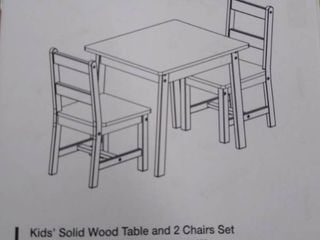 Kids Solid Wood Table an 2 Chairs Set  Not Inspected    White