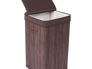 (4) Birdrock Home Espresso Finish Bamboo/Cotton Square Laundry Hamper with Lid and Cloth Liner