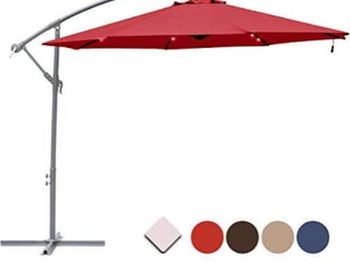 10Ft Cantilever Umbrella With led lights   Color Coffee