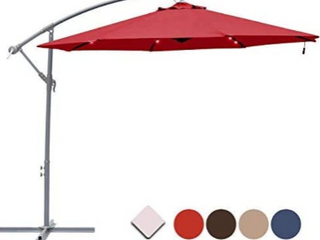 10 Ft Cantilever Umbrella With led lights Color Coffee
