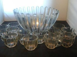 Crystal Punch Bowl and 12 Cups