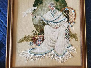 Mother of Nature Cross Stitch and Beaded Native American Framed