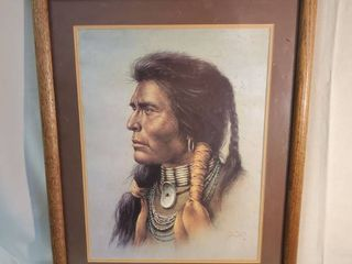 Native American Chief Portrait Signed Bill Hampton