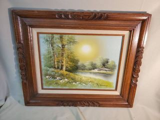 Painting Creek Clearing Signed   Gorgeous Wooden Carved Frame