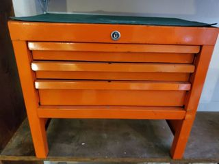 Orange with Green Rubber Matted Top Tool Box woth 3 Drawers