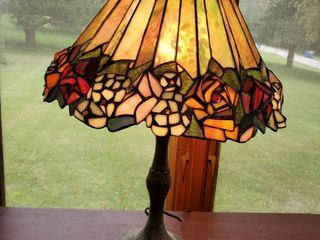 Opalescent Tiffany Style Rose Themed lamp