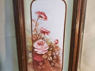 Arcylic Painted Rose Bush Signed Faye Walter s 1980