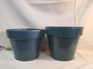 Pair of Forrest Green Terra Cotta Flower Pots